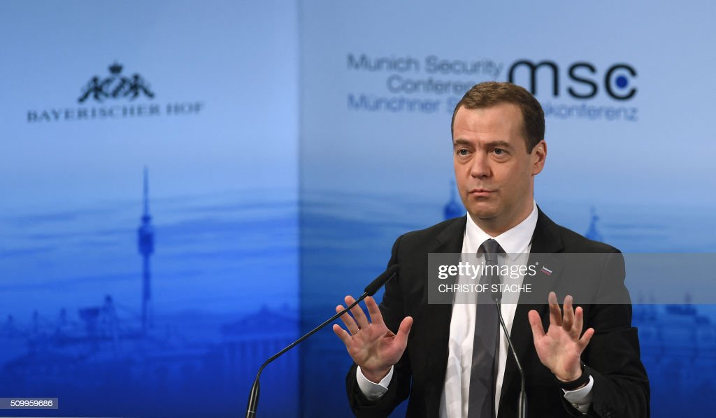 Russian Prime Minister Dmitry Medvedev speaks at a panel discussion during the second day of the 52nd Munich Security Conference (MSC) in Munich, southern Germany, on February 13, 2016. / AFP / Christof STACHE