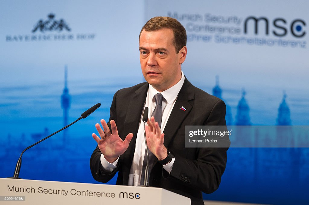 Russian Prime Minister <a gi-track='captionPersonalityLinkClicked' href=/galleries/search?phrase=Dmitry+Medvedev&family=editorial&specificpeople=554704 ng-click='$event.stopPropagation()'>Dmitry Medvedev</a> speaks at the 2016 Munich Security Conference at the Bayerischer Hof hotel on February 13, 2016 in Munich, Germany. The annual event brings together government representatives and security experts from across the globe and this year the conflict in Syria will be the main issue under discussion.