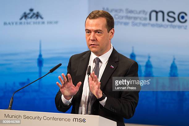 Russian Prime Minister Dmitry Medvedev speaks at the 2016 Munich Security Conference at the Bayerischer Hof hotel on February 13 2016 in Munich...