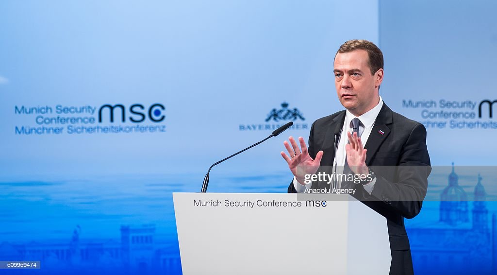 Russian Prime Minister Dmitry Medvedev speaks at the 2016 Munich Security Conference at the Bayerischer Hof hotel on February 13, 2016 in Munich, Germany. The annual event brings together government representatives and security experts from across the globe and this year the conflict in Syria will be the main issue under discussion.