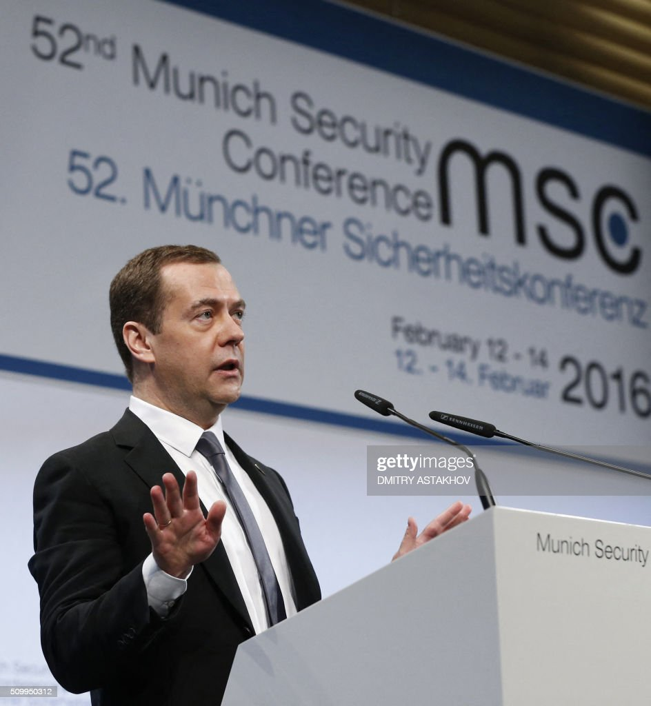 Russian Prime Minister Dmitry Medvedev speaks at the 52nd Security Conference in Munich, southern Germany, on February 13, 2016. / AFP / SPUTNIK / DMITRY ASTAKHOV