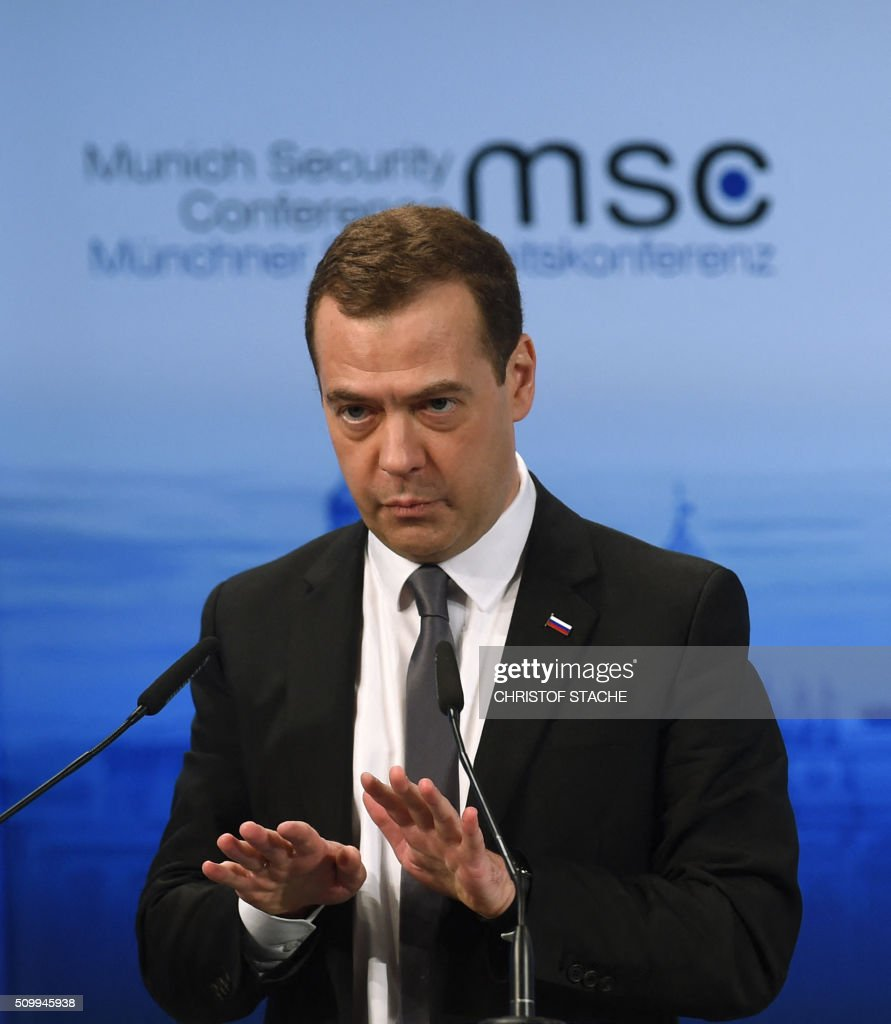 Russian Prime Minister Dmitry Medvedev speaks during a panel discussion at the second day of the 52nd Munich Security Conference (MSC) in Munich, southern Germany, on February 13, 2016. / AFP / Christof STACHE