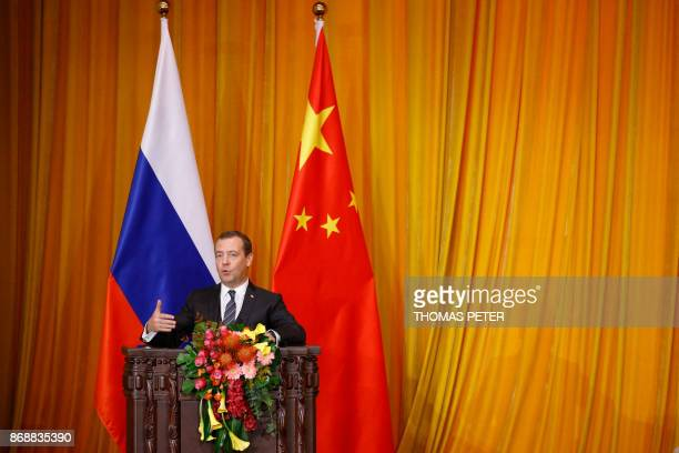 Russian Prime Minister Dmitry Medvedev speaks during the closing ceremony of a ChinaRussia media cooperation program at the Great Hall of the People...