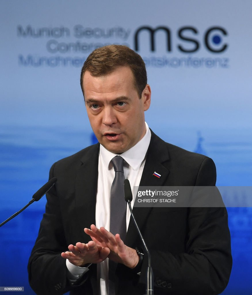 Russian Prime Minister Dmitry Medvedev speaks in a panel discussion during the second day of the 52nd Munich Security Conference (MSC) in Munich, southern Germany, on February 13, 2016. / AFP / Christof STACHE