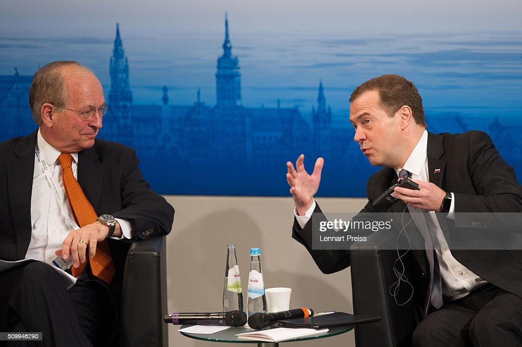 Russian Prime Minister Dmitry Medvedev (R) talks to Wolfgang Ischinger, Chairman of the Munich Security Conference at the 2016 Munich Security Conference at the Bayerischer Hof hotel on February 13, 2016 in Munich, Germany. The annual event brings together government representatives and security experts from across the globe and this year the conflict in Syria will be the main issue under discussion.