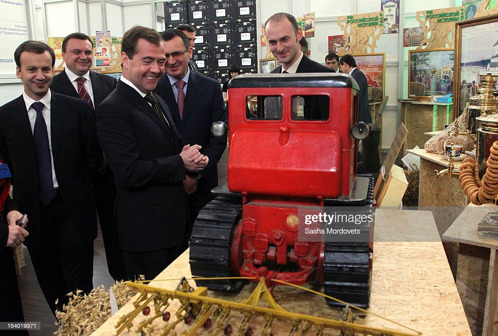Russian Prime Minister Dmitry Medvedev visits an agricultural exhibition October 12, 2012 in Moscow, Russia. Earlier this week Medvedev and his Iraqi counterpart Nouri al-Maliki agreed that Iraq would buy more than $4.2 billion in arms from Russia.