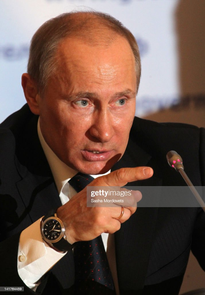 Russian Prime Minister, President-elect <a gi-track='captionPersonalityLinkClicked' href=/galleries/search?phrase=Vladimir+Putin&family=editorial&specificpeople=154896 ng-click='$event.stopPropagation()'>Vladimir Putin</a> speaks during a meeting discussing gas and energy industry development on March 23, 2012 in Kirishi, 140 km, east of St.Petersburg, Russia. During a one-day trip to the region, <a gi-track='captionPersonalityLinkClicked' href=/galleries/search?phrase=Vladimir+Putin&family=editorial&specificpeople=154896 ng-click='$event.stopPropagation()'>Vladimir Putin</a> stated that gas export monopoly, Gazprom would not receive additional tariff increases to help with rising mineral extraction tax.