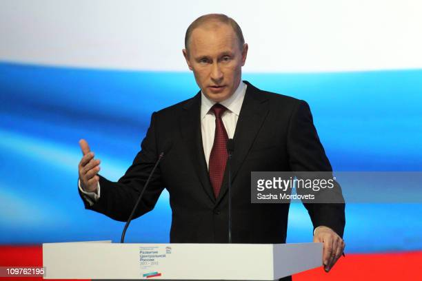 Russian Prime Minister Vladimir Putin addresses members of his United Russia Party during a party conference on March 4 2011 in Bryansk Russia...