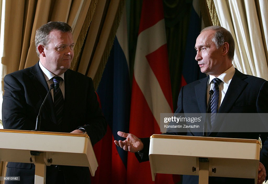 Russian Prime Minister <a gi-track='captionPersonalityLinkClicked' href=/galleries/search?phrase=Vladimir+Putin&family=editorial&specificpeople=154896 ng-click='$event.stopPropagation()'>Vladimir Putin</a> (R) and Danish Prime Minister Lars Loekke Rasmussen hold a joint press conference after their talks November 2, 2009 in Moscow, Russia. Putin and Rasmussen in part discussed global warming policy ahead of the upcoming United Nations Climate Change Conference in Copenhagen.