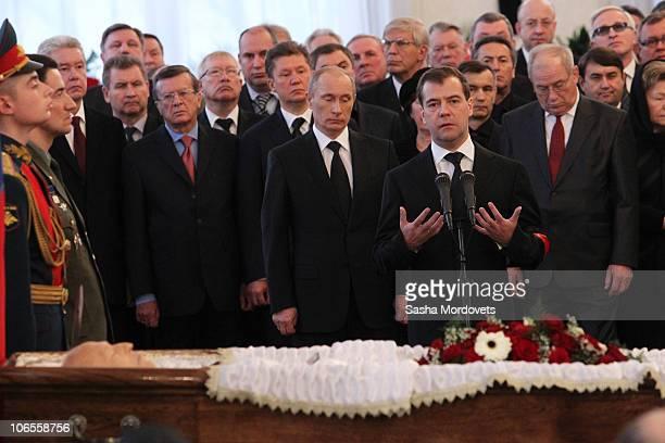 Russian Prime Minister Vladimir Putin and President Dmitry Medvedev attend in the civil funeral of Viktor Chernomyrdin the President's adviser and...