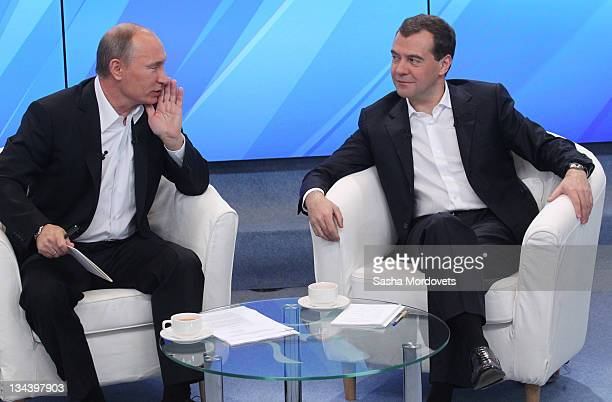 Russian Prime Minister Vladimir Putin and President Dmitry Medvedev meet their supporters on December 1 2011 in Moscow Russia The meeting is the last...