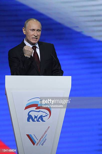 Russian Prime Minister Vladimir Putin delievrs a speech to the congress of the United Russia Party November 2011 in Moscow Russia Putin accepted the...