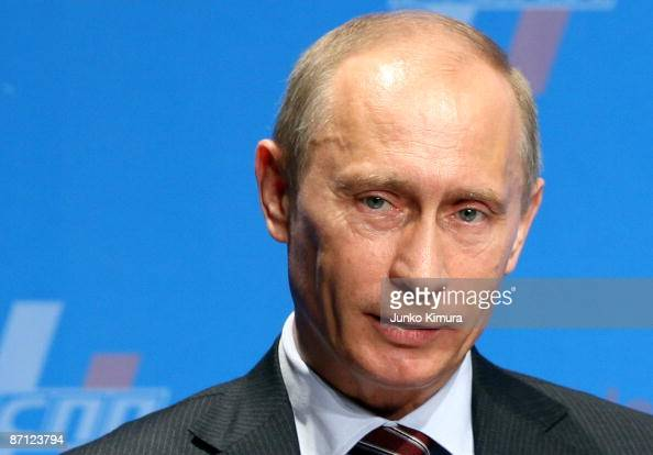 Russian Prime Minister Vladimir Putin delivers a speech during the Japan Russia Business Forum at a hotel on May 12 2009 in Tokyo Japan Putin is on a...