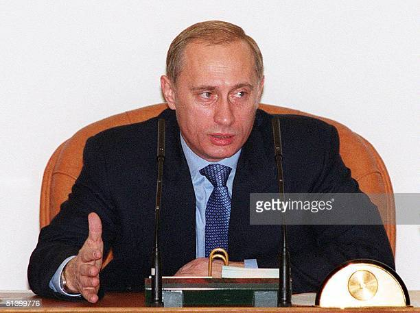 Russian Prime Minister Vladimir Putin gestures as he opens the cabinet meeting on the 1999 budget in Moscow on Thursday 04 November 1999 Putin said...