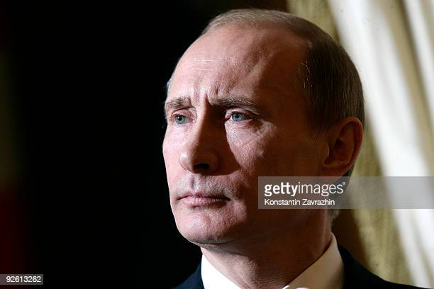 Russian Prime Minister Vladimir Putin holds a joint press conference after RussianDanish talks with Danish Prime Minister Lars Loekke Rasmussen...