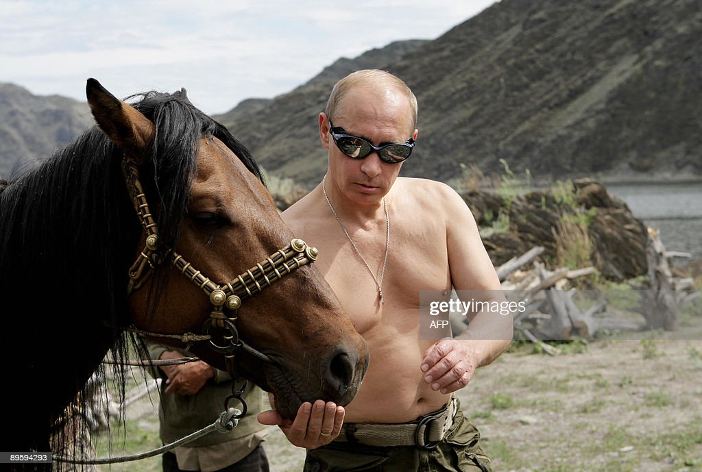 Russian Prime Minister Vladimir Putin is pictured with a horse during his vacation outside the town of Kyzyl in Southern Siberia on August 3, 2009. AFP PHOTO / RIA-NOVOSTI / ALEXEY DRUZHININ