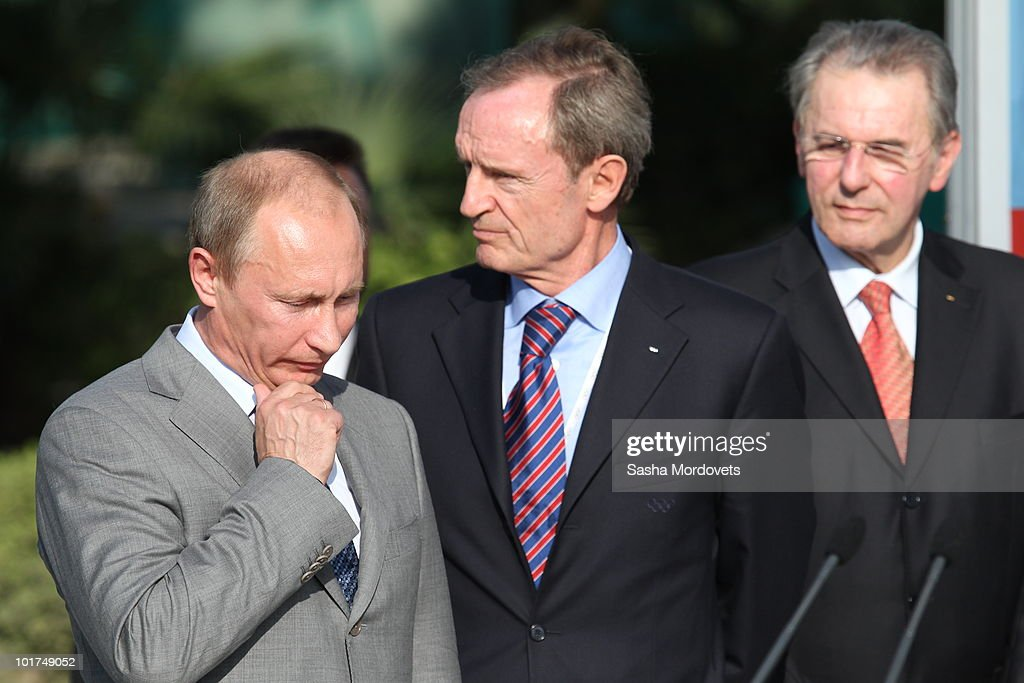 Russian Prime Minister <a gi-track='captionPersonalityLinkClicked' href=/galleries/search?phrase=Vladimir+Putin&family=editorial&specificpeople=154896 ng-click='$event.stopPropagation()'>Vladimir Putin</a>; <a gi-track='captionPersonalityLinkClicked' href=/galleries/search?phrase=Jean-Claude+Killy&family=editorial&specificpeople=223880 ng-click='$event.stopPropagation()'>Jean-Claude Killy</a>, chairman of the Sochi-2014 International Olympic Committee (IOC) Assessment Commission; and IOC chief <a gi-track='captionPersonalityLinkClicked' href=/galleries/search?phrase=Jacques+Rogge&family=editorial&specificpeople=206143 ng-click='$event.stopPropagation()'>Jacques Rogge</a> attend a meeting June 7, 2010 in in Sochi, Russia. Sochi will host the 2014 Winter Olympics.