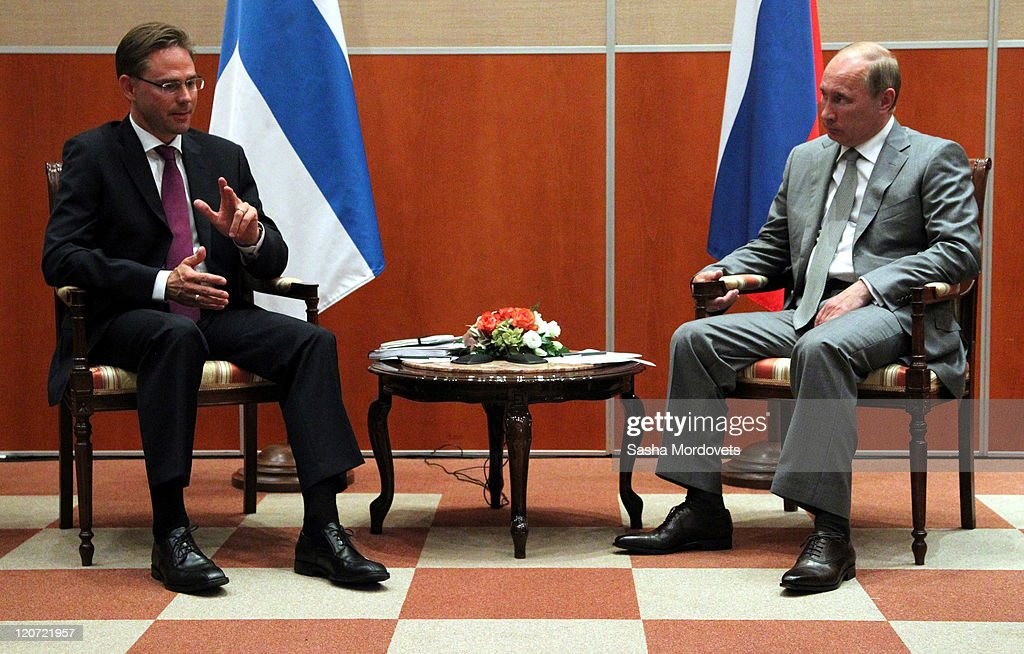 Russian Prime Minister Vladimir Putin meets with Finland's Prime Minister <a gi-track='captionPersonalityLinkClicked' href=/galleries/search?phrase=Jyrki+Katainen&family=editorial&specificpeople=3014648 ng-click='$event.stopPropagation()'>Jyrki Katainen</a> (L) on August 9, 2011 in Sochi, Russia. On the first day of a 2-day visit to Russia, Finnish Prime Minister <a gi-track='captionPersonalityLinkClicked' href=/galleries/search?phrase=Jyrki+Katainen&family=editorial&specificpeople=3014648 ng-click='$event.stopPropagation()'>Jyrki Katainen</a> met with his Russian counterpart to discuss economic interaction between Russia and the European Union as well as with Finland.