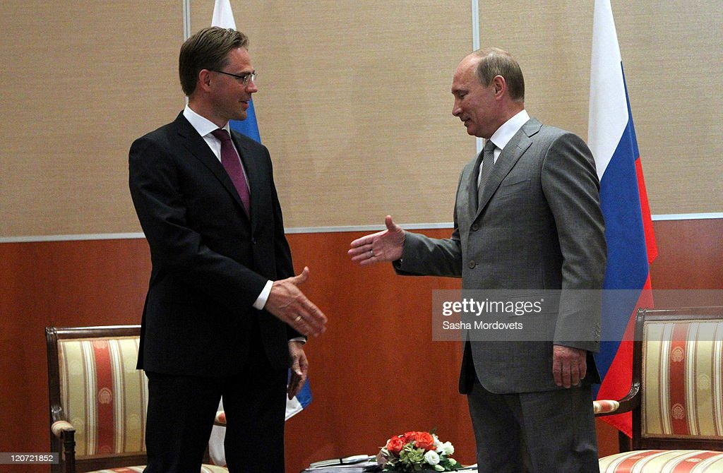 Russian Prime Minister Vladimir Putin shakes hands with Finland's Prime Minister <a gi-track='captionPersonalityLinkClicked' href=/galleries/search?phrase=Jyrki+Katainen&family=editorial&specificpeople=3014648 ng-click='$event.stopPropagation()'>Jyrki Katainen</a> (L) on August 9, 2011 in Sochi, Russia. On the first day of a 2-day visit to Russia, Finnish Prime Minister <a gi-track='captionPersonalityLinkClicked' href=/galleries/search?phrase=Jyrki+Katainen&family=editorial&specificpeople=3014648 ng-click='$event.stopPropagation()'>Jyrki Katainen</a> met with his Russian counterpart to discuss economic interaction between Russia and the European Union as well as with Finland.