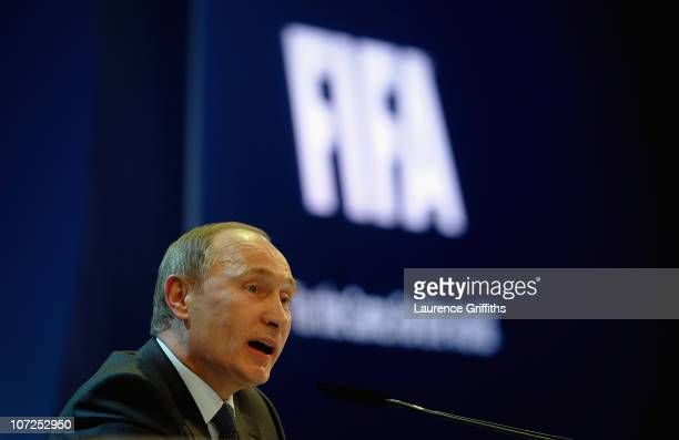Russian Prime Minister Vladimir Putin speaks to the media after winning the 2018 bid during the FIFA World Cup 2018 2022 Host Countries Announcement...