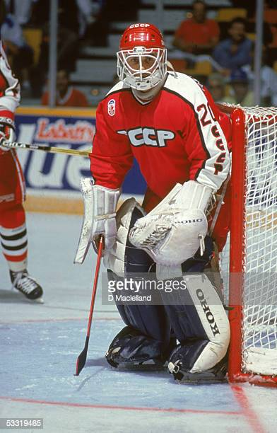Russian professional hockey player Mikhail Shtalenkov of the Moscow Dynamo on the ice as a member of team USSR during the Canada Cup tournament...