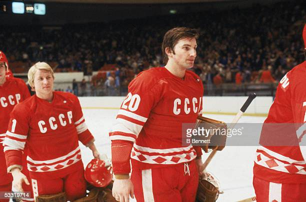 Russian professional hockey player Vladimir Tretiak and Vladimir Myshkin of Team USSR on the ice just after an 1980 exhibition game against Team USA...