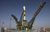 A Russian ProgressM12M cargo ship carrying supplies for the International Space Station stands on the launch pad at the Baikonour cosmodrome on...