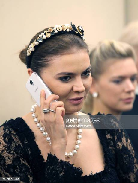 Russian retired rhytmic gymnast and politican Alina Kabaeva attends a reception at the Bocharov Ruchey state residence ion February 8 2014 in Sochi...