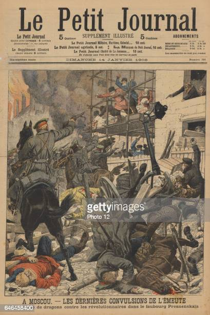 Russian Revolution 19051906 The last of the riots in Moscow Soldiers firing on rioters who had taken refuge in the Prokhorof factory Presnenskaia...