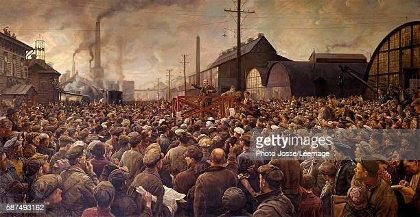 Lenin speaking to the workers of the Putilov factory in Petrograd 1917 Painting by Isaak Brodsky National Gallery Prague Czech Republic