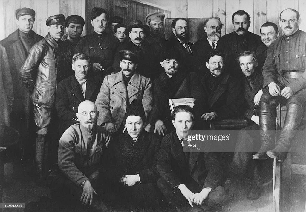Russian revolutionaries and leaders Joseph Stalin (1878 - 1953), Vladimir Ilyich Lenin (1870 - 1924), and Mikhail Ivanovich Kalinin (1875 - 1946) at the 8th Congress of the Russian Communist Party in Moscow, 23rd March 1919.