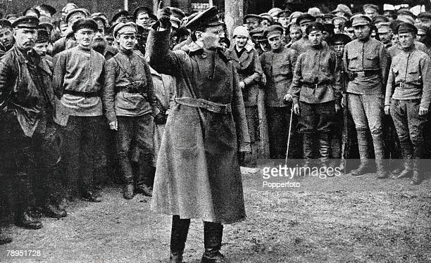 Russian revolutionary and Communist theorist Leon Trotsky 1879 1940 addressing soldiers of the Red Army at the time of the Russian Revolution in 1917