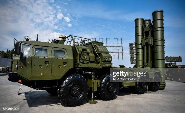 Russian S400 antiaircraft missile launching system is displayed at the exposition field in Kubinka Patriot Park outside Moscow on August 22 2017...