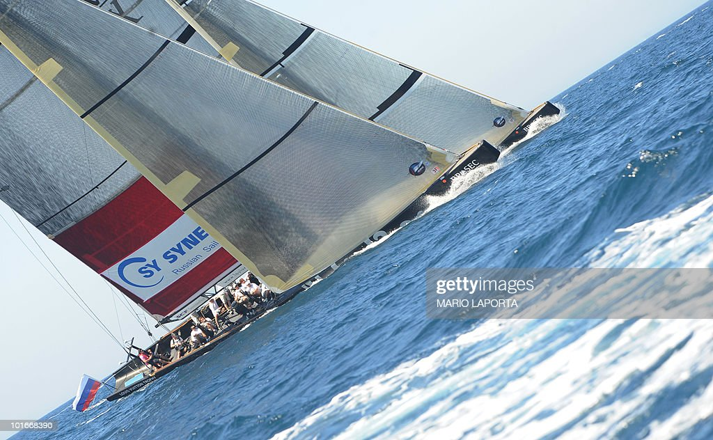 Russian Sailing Team Sinergy (foreground) and Emirates New Zealand Team during the final match race of the Louis Vuitton Trophy at La Maddalena Island, on June 6, 2010, after a two-week regatta that started on May 22 and finished on June 6, 2010. Emirates New Zealand won 3-2.