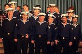 Russian sailors from the Black Sea Fleet Ensemble giving concert aboard cruiseship MS Europa.