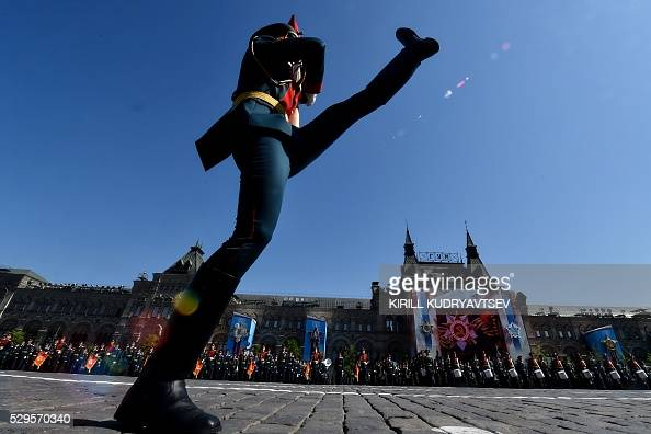 TOPSHOT Russian servicemen take part in the Victory Day military parade at Red Square in Moscow on May 9 2016 Russia marks the 71st anniversary of...