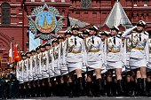 TOPSHOT Russian servicewomen march at Red Square during the Victory Day military parade in Moscow on May 9 2016 Russia marks the 71st anniversary of...