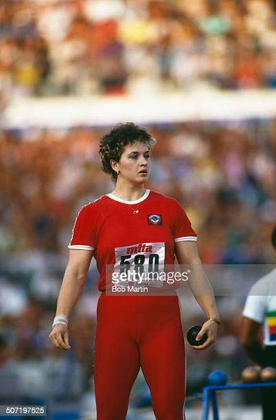 Russian shot putter Natalya Lisovskaya at the 2nd World Championships in Athletics Stadio Olimpico Rome Italy 1987 Lisovskaya later went on to win...