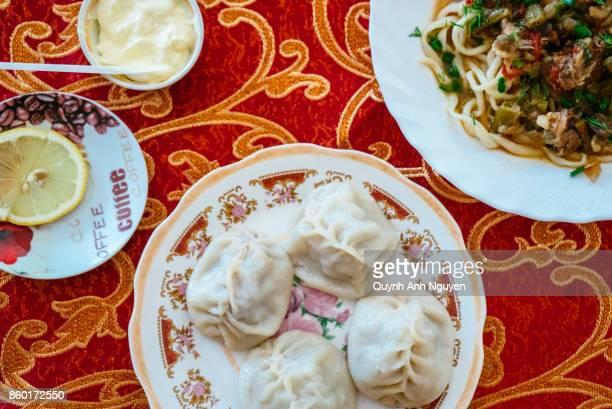 Russian Siberia Buryatian food on the table