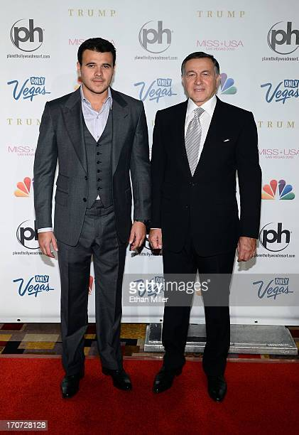 Russian singer Emin Agalarov and his father Aras Agalarov arrive at the 2013 Miss USA pageant at Planet Hollywood Resort Casino on June 16 2013 in...