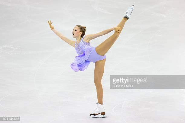 Russian skater Elena Radionova competes during the Ladies free skating program at the ISU Grand Prix of Figure Skating Final 2015 in Barcelona on...