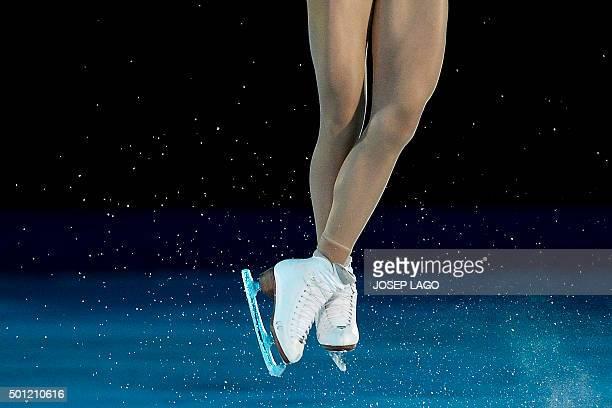 TOPSHOT Russian skater Elena Radionova performs during an exhibiton gala at the ISU Grand Prix of Figure Skating Final 2015 in Barcelona on December...