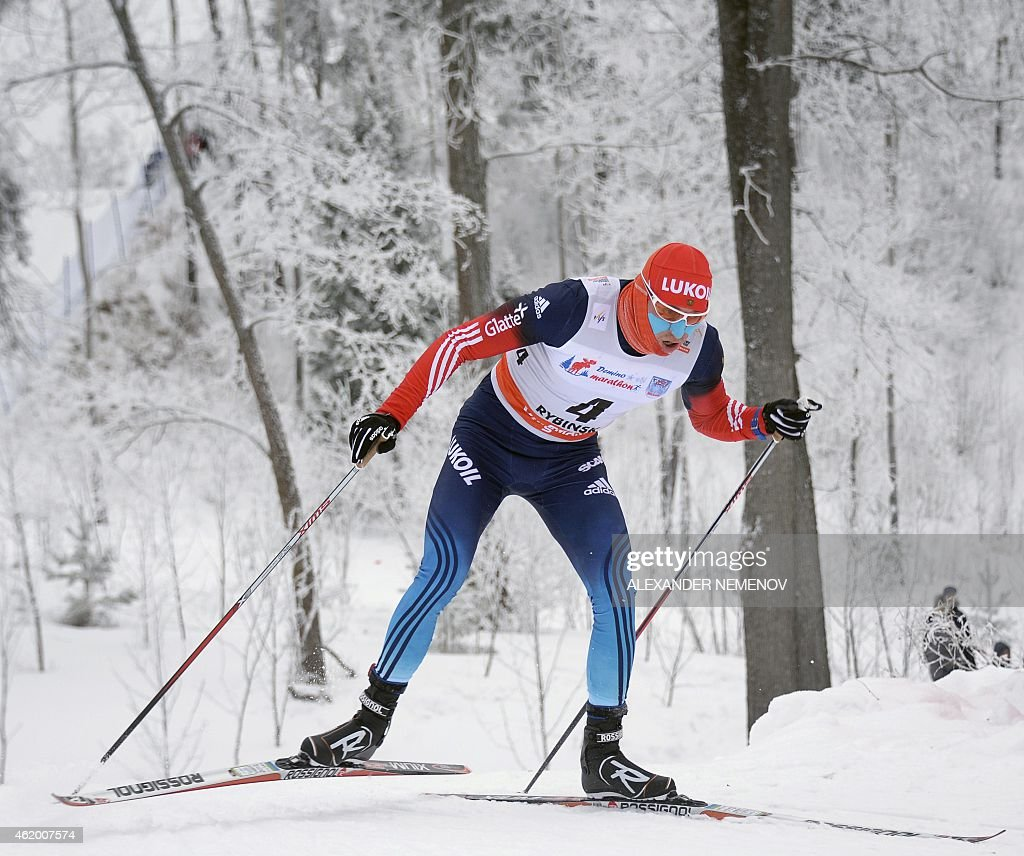 Russian skier <a gi-track='captionPersonalityLinkClicked' href=/galleries/search?phrase=Alexander+Legkov&family=editorial&specificpeople=4037875 ng-click='$event.stopPropagation()'>Alexander Legkov</a> participates in the men's 15 km individual free race of the FIS Cross-country World Cup event on January 23, 2015 in Rybinsk.