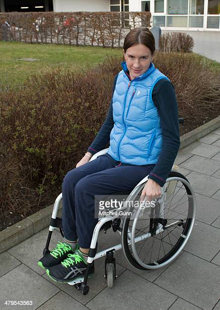 Russian skier Maria Komissarova poses during her rehabilitation on March 19 2014 near Munich Germany Komissarova was paralysed after fracturing a...