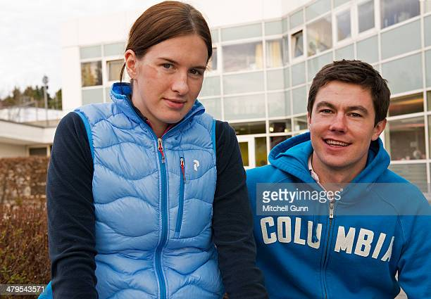 Russian skier Maria Komissarova poses with her boyfriend and fellow racer Alexei Chaadaev after a rehabilitation session on March 19 2014 in Munich...