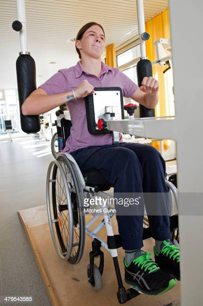 Russian skier Maria Komissarova takes part in a rehabilitation session on March 19 2014 near Munich Germany Komissarova was paralysed after...