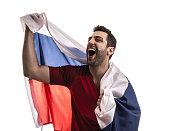 Russian Soccer fan celebrating