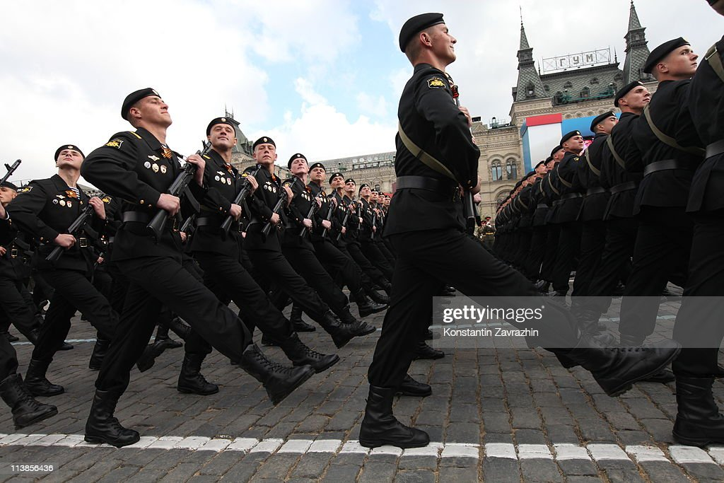 Russian soldiers attend the Victory Day parade in Red Square, on May 9, 2011 in Moscow, Russia. Russian people today celebrated victory over Nazi Germany in WWII, with some 20,000 soldiers and military might on show.