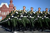 Russian soldiers march at the Red Square in Moscow on May 9 during a Victory Day parade Thousands of Russian troops marched today in Red Square to...