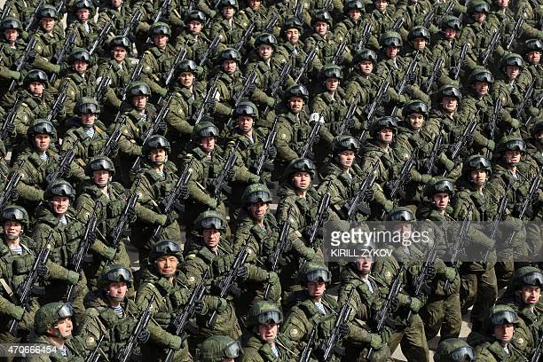 Russian soldiers march during a rehearsal of the Victory Day Parade in Alabino outside Moscow on April 22 2015 The parade will take place on Moscow's...
